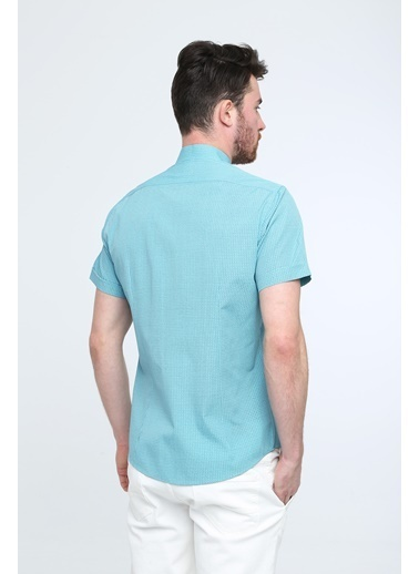 Kiğılı Kısa Kol Hakim Yaka Desenli Slim Fit Gömlek Yeşil